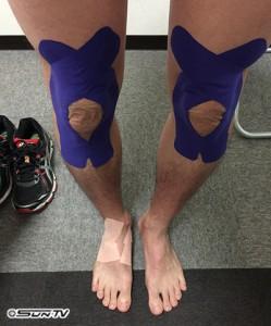 毎回膝にはテーピングをしますが、今回は右足裏もテーピング