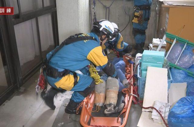 解体予定施設でレスキュー訓練 丹波市で地震発生を想定